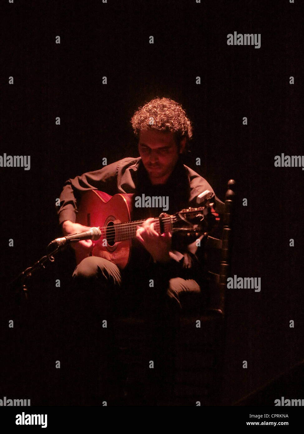 Flamenco guitar player Seville Andalusia Spain - Stock Image