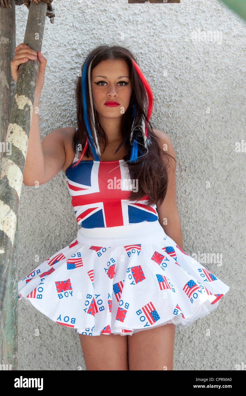 Molly from Swansea modelling patriotic vintage 1980's original 'Boy London' clothing ahead of the Queen's - Stock Image