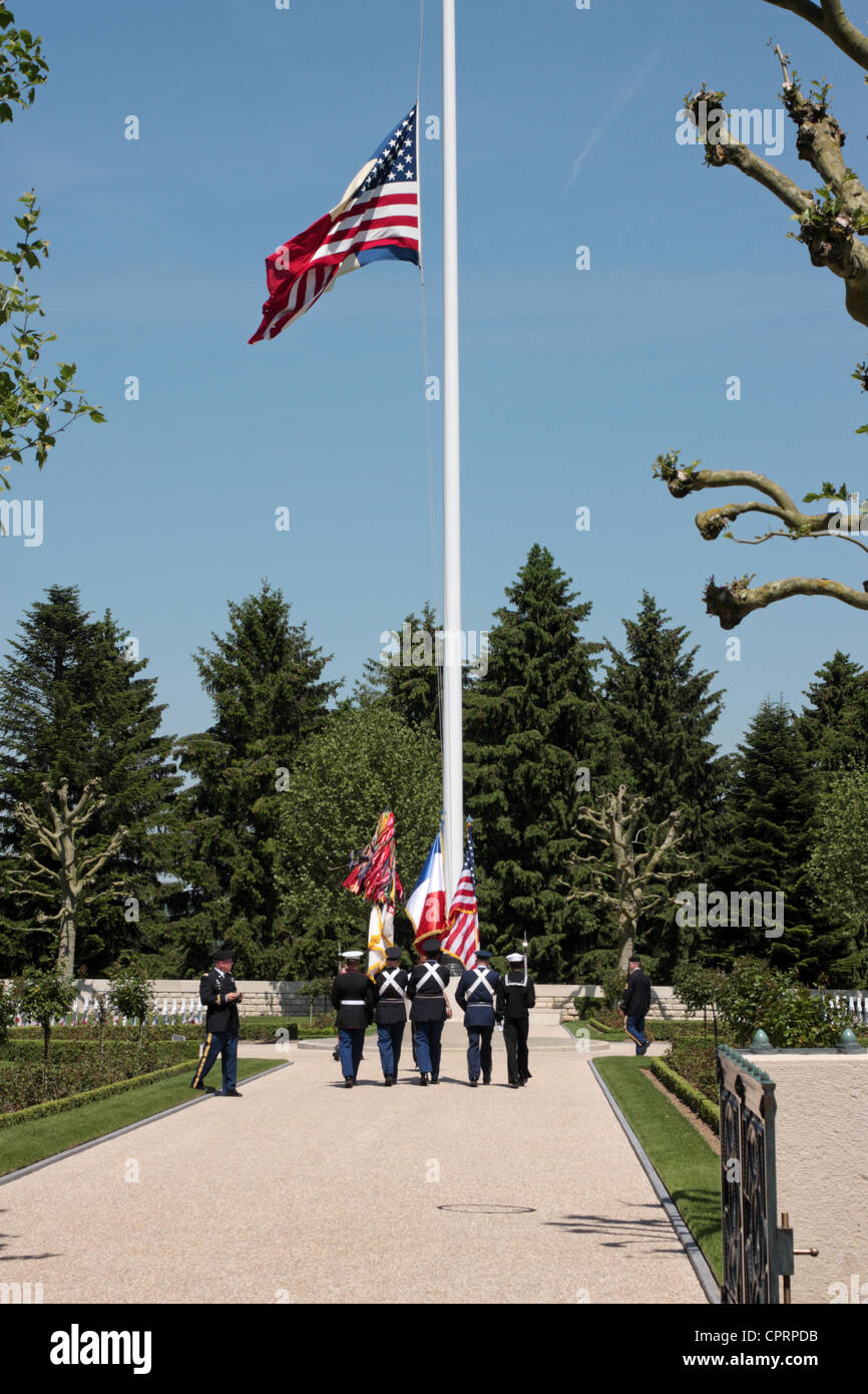 Memorial Ceremony Us Military Cemetery France Stock Photos ...