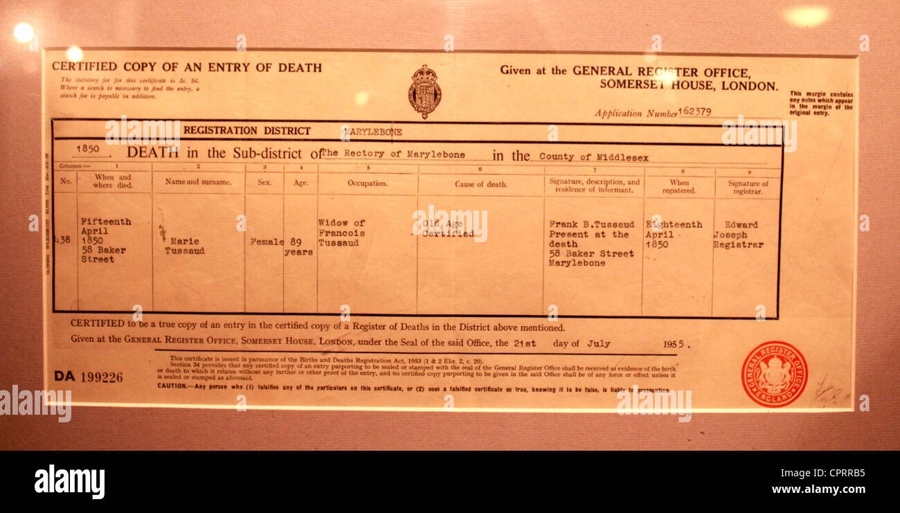Death certificate of Marie Tussaud framed and at display at the madame tussauds museum - Stock Image