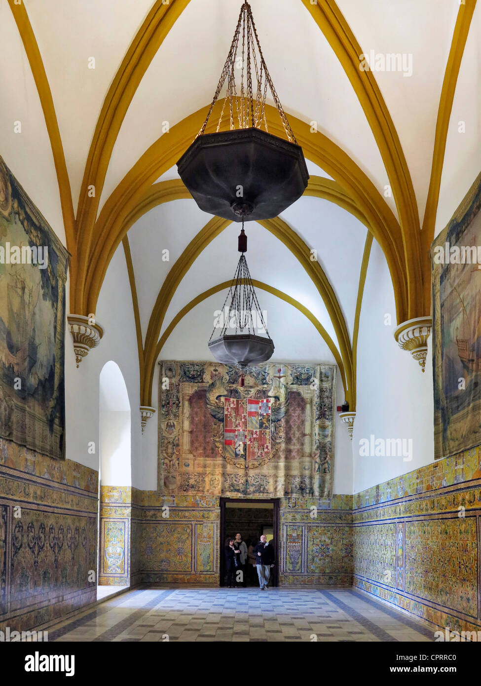 Tapestry hall in Gothic Palace Royal Alcazars of Seville Andalusia Spain - Stock Image