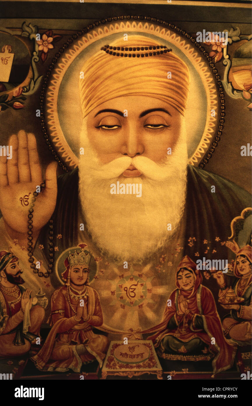 Nanak Dev, 15.4.1469 - 1539, Indian Guru, founder of Sikhism, portrait, Indian painting, Additional-Rights-Clearances - Stock Image