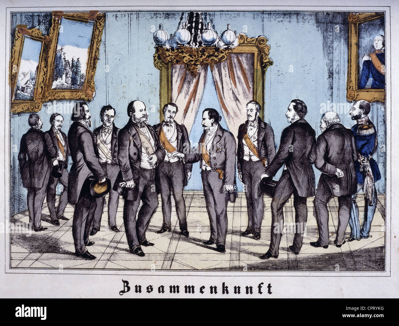 Napoleon III, 20.4.1808 - 9.1.1873, Emperor of the French 1852 - 1870, scene, meeting with Wilhelm I of Prussia, - Stock Image