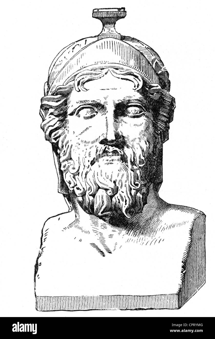 Miltiades, Athens statesman and commander, victor near marathon 490 BC against the Persian, portrait, bust, 19th - Stock Image