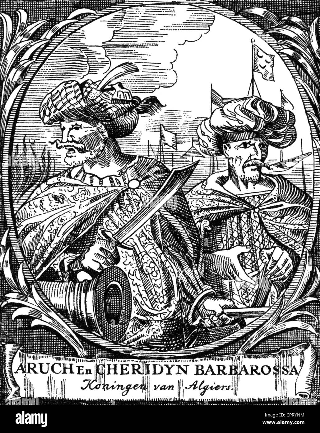 Hayreddin Barbarossa, Khizir, circa 1465 - 5.7.1546, Ottoman corsair, with his brother Aruj, copper engraving, 16th - Stock Image