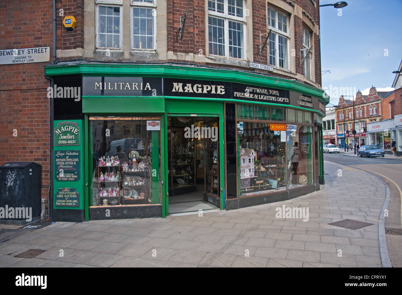 Magpie Jewellers, a shop dealing in antiques and militaria, Evesham, Worcestershire - Stock Image