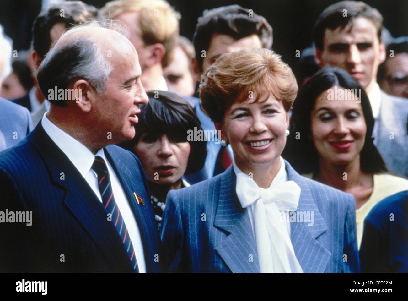 Mikhail Gorbachev, * 2.3.1931, Soviet politician (CPSU), half length, with his wife Raisa, during a state visit - Stock Image