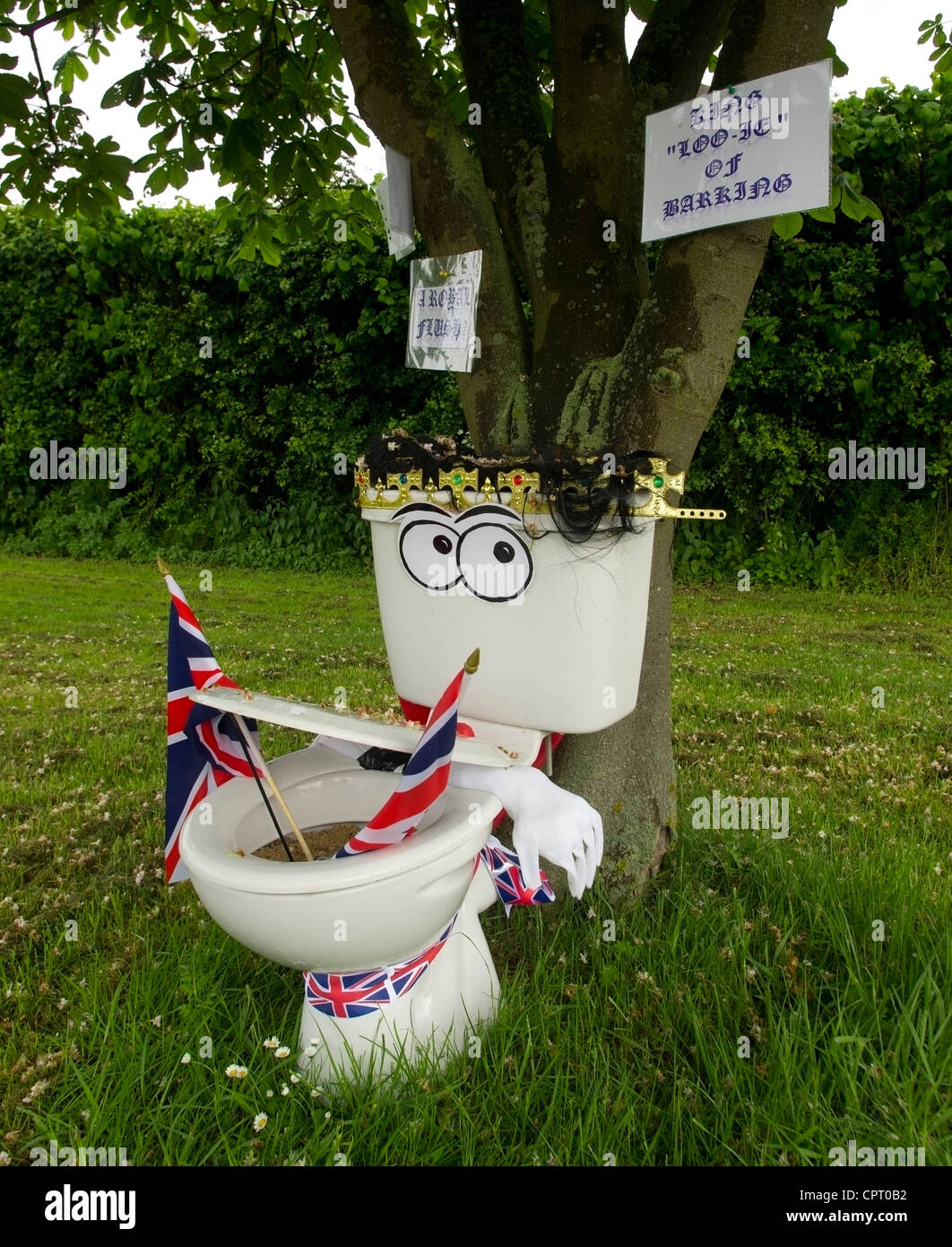 cheeky installation in the Suffolk village of Barking for the 2012 Diamond Jubilee celebrations - Stock Image