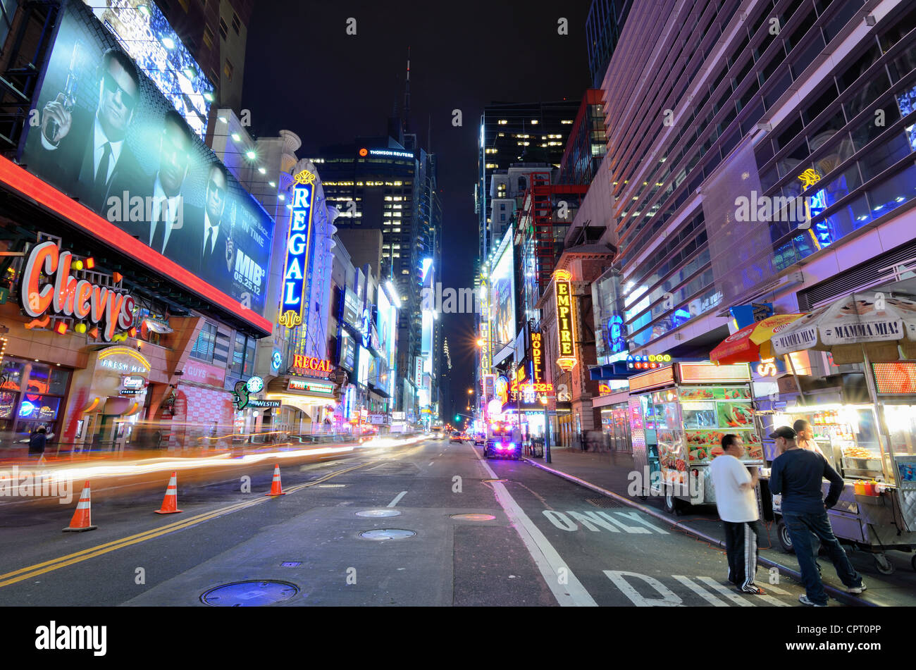 42nd St runs towards Times Square in New York, New York. - Stock Image