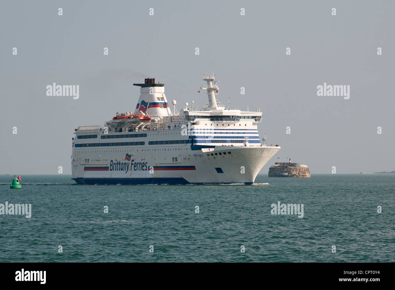 Brittan Ferries ship Bretagne on The Solent inbound to Portsmouth UK passing Spitbank Fort Stock Photo