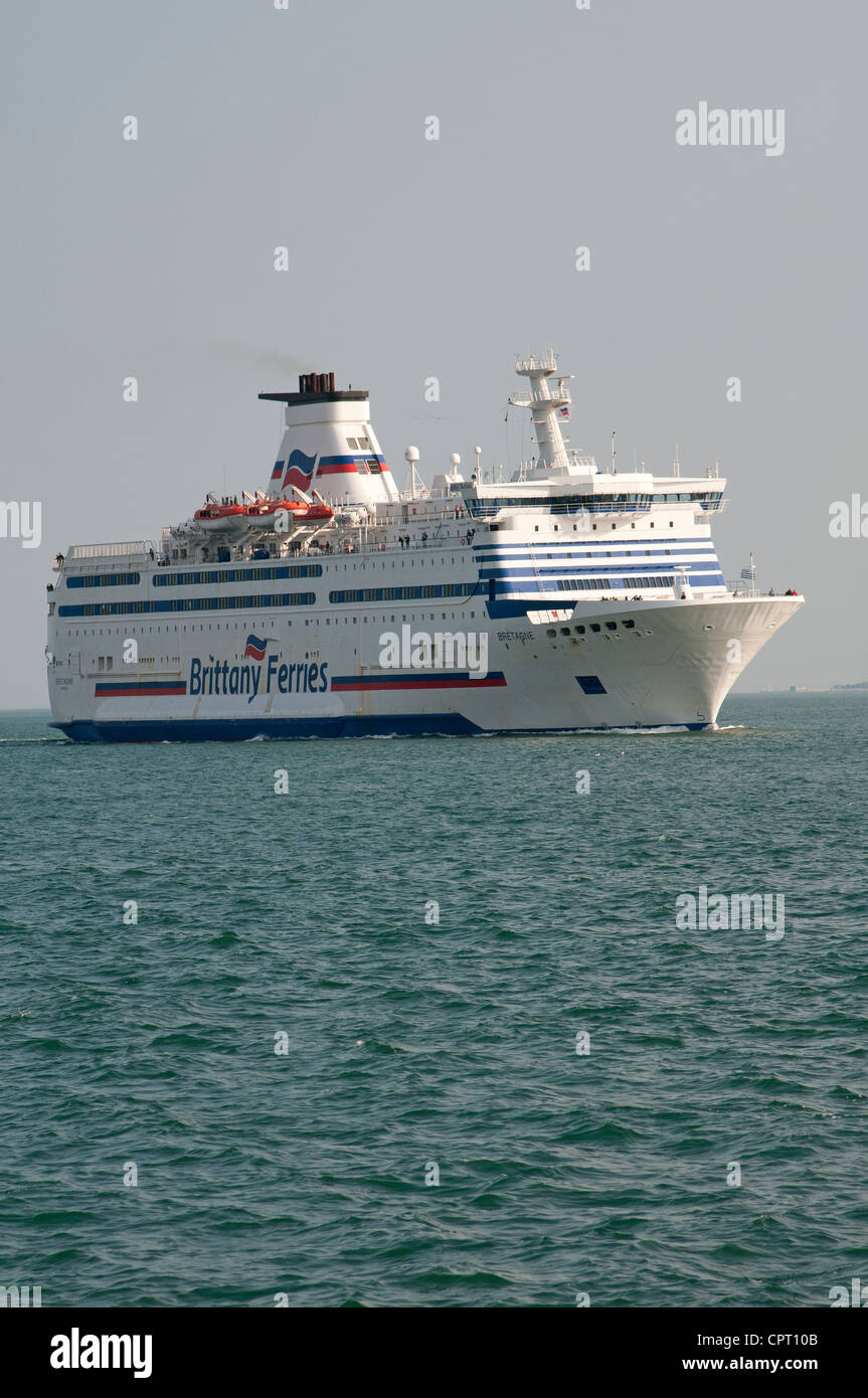 Brittany Ferries ship Bretagne on The Solent inbound to Portsmouth UK Stock Photo