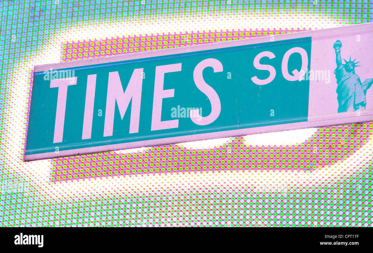 Times Square street sign in New York City. - Stock Image