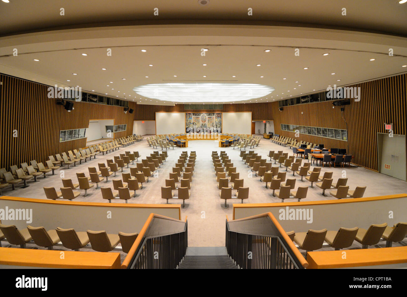 Security Council Chamber in the United Nations Headquarters in New York, New York. - Stock Image