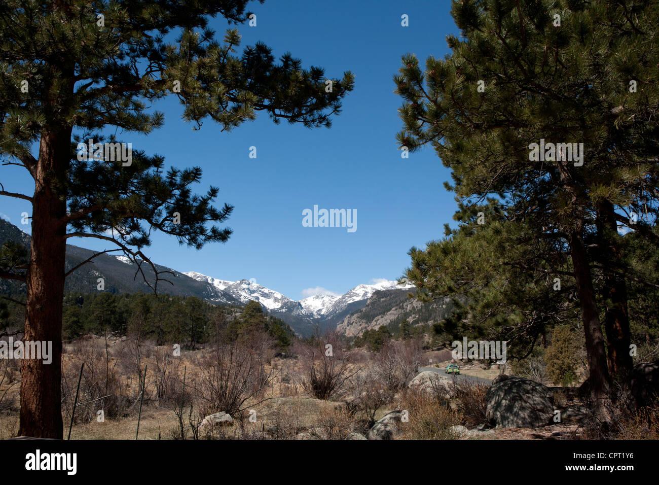 Rocky Mountain National Park Vista  - Estes Park, Colorado USA - Stock Image