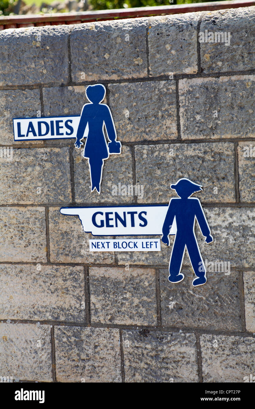 Ladies and Gents sign on wall of public conveniences toilets - Stock Image