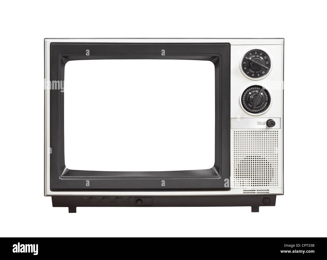 1980's portable television set with empty screen isolated . - Stock Image