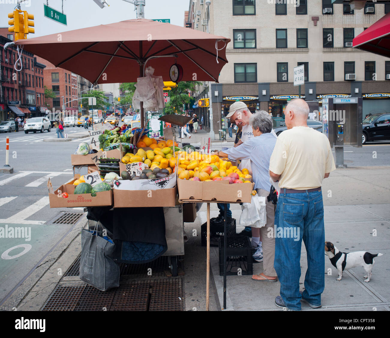 A fruit and vegetable stand in the Chelsea neighborhood of New York on Saturday, May 26, 2012. (© Richard B. Levine) Stock Photo
