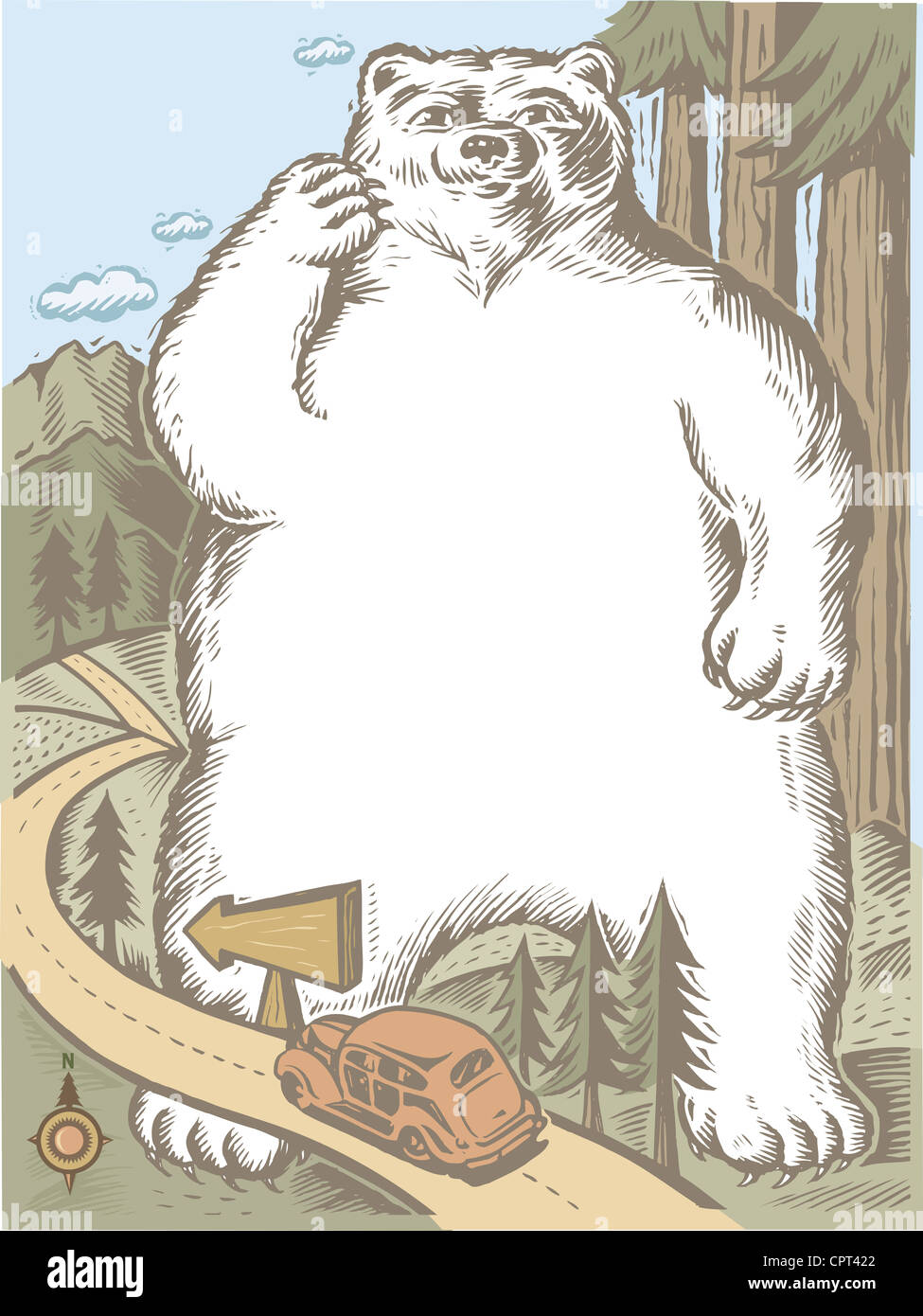A giant bear standing near a road - Stock Image