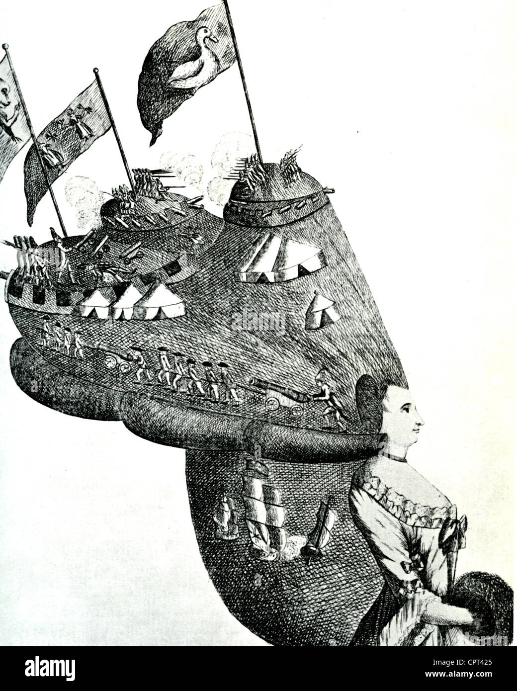 'BUNKER'S HILL, or AMERICA'S HEAD-DRESS'  A British cartoon combining American War of Independence - Stock Image