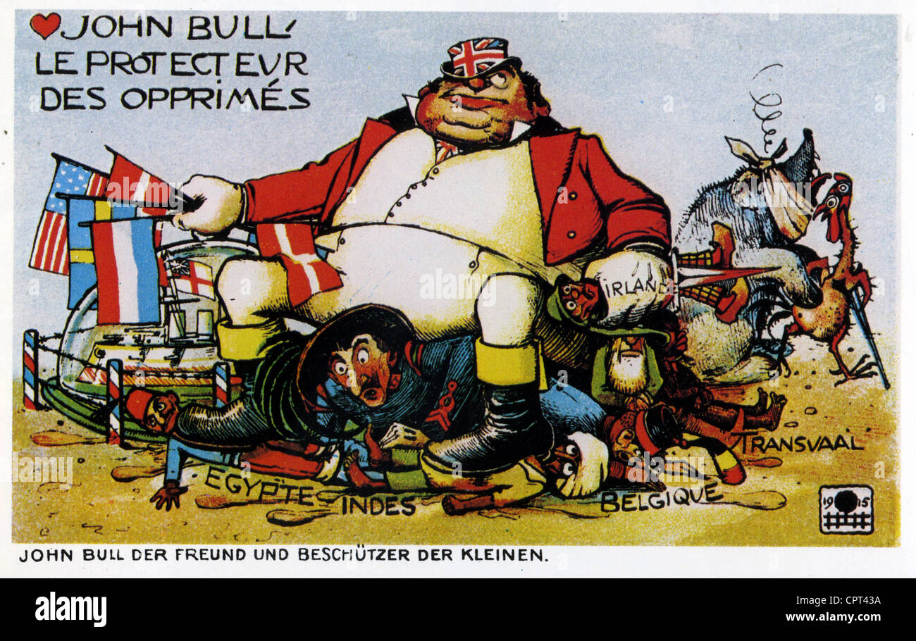 JOHN BULL 'The protector of the oppressed' 1915 French satirical cartoon - Stock Image