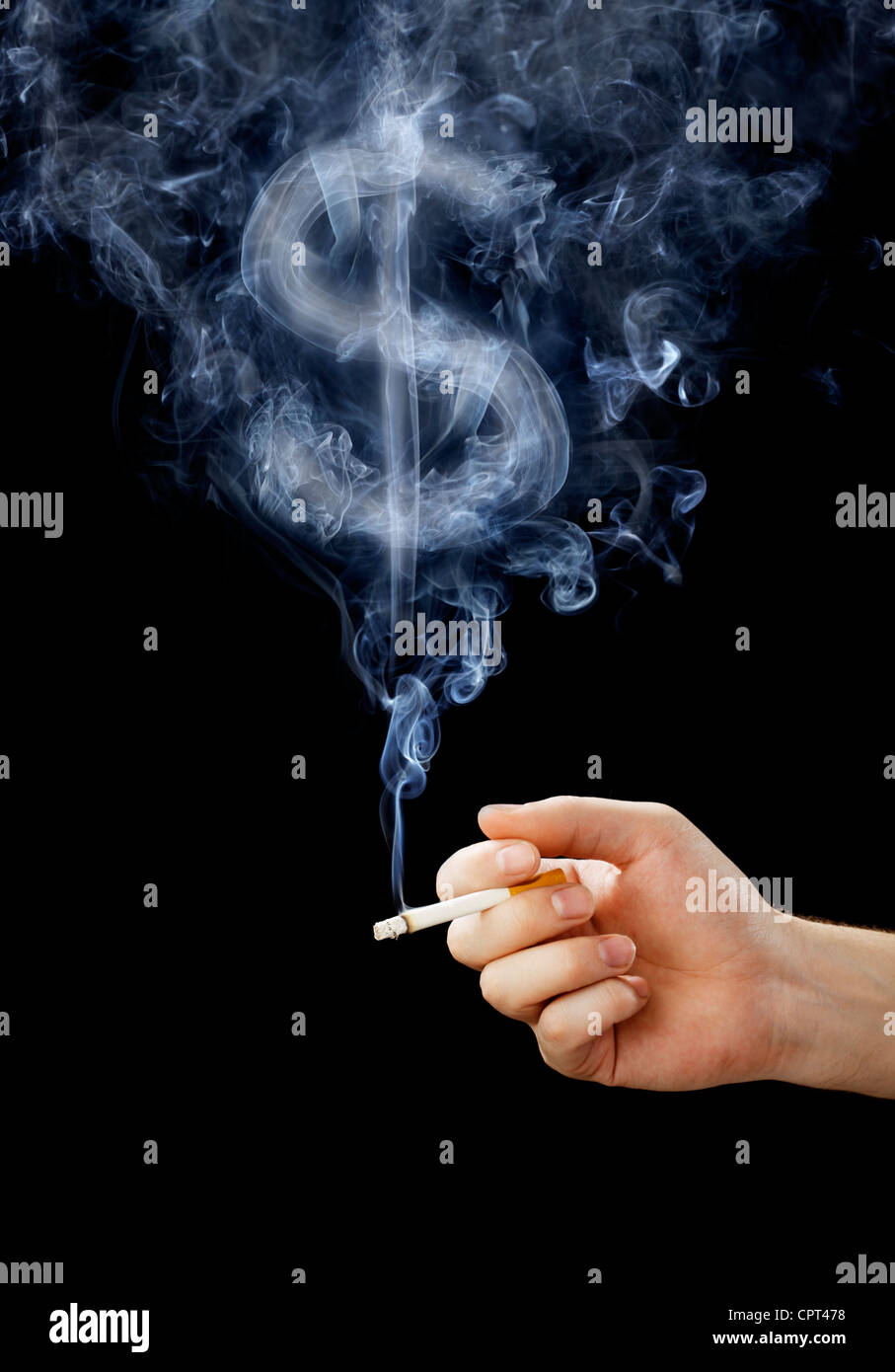 Cigarette with smoke shaped like a dollar sign. - Stock Image