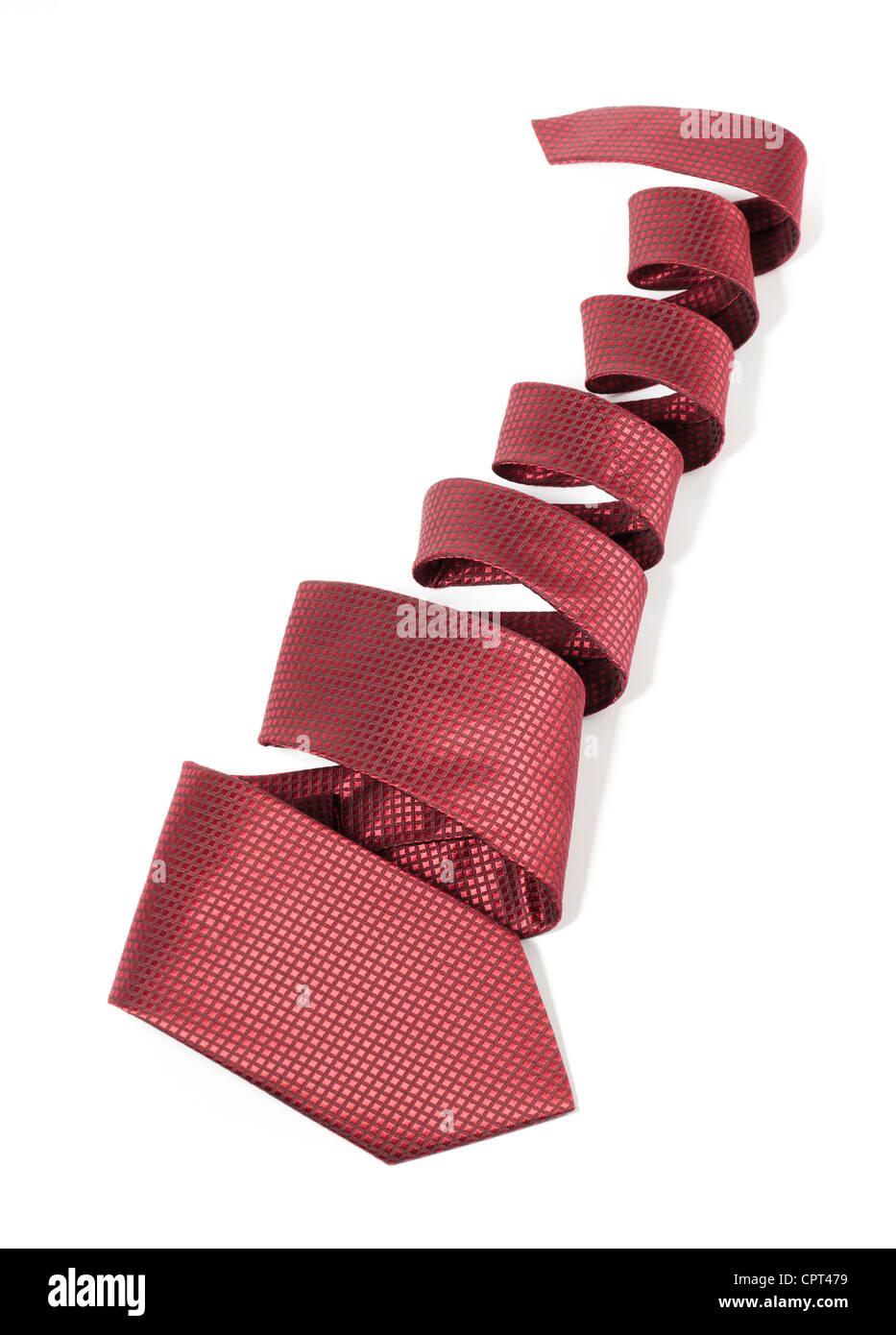 Silk necktie on white - Stock Image
