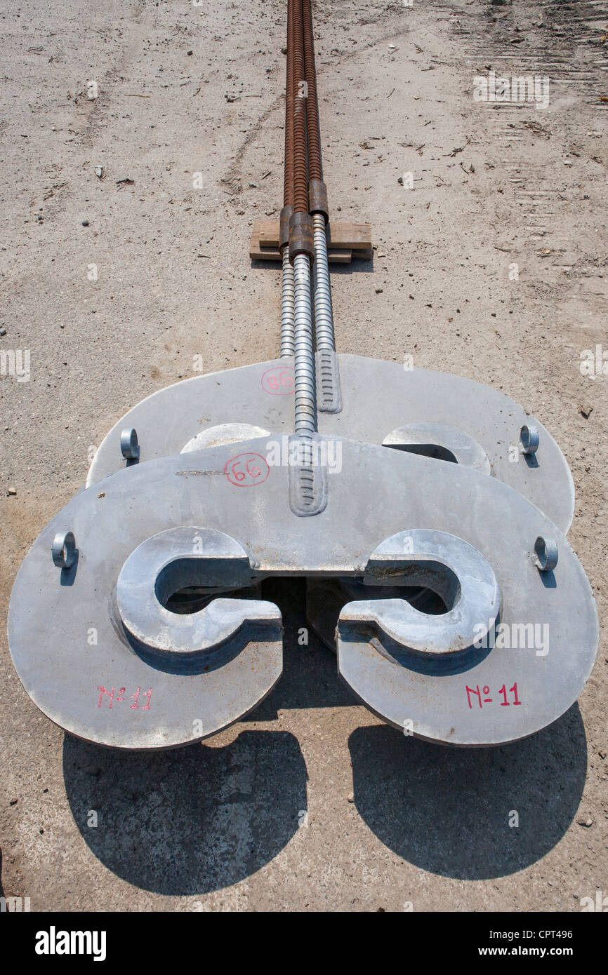 Steel spacers for laying bulkheads in harbor construction - Stock Image