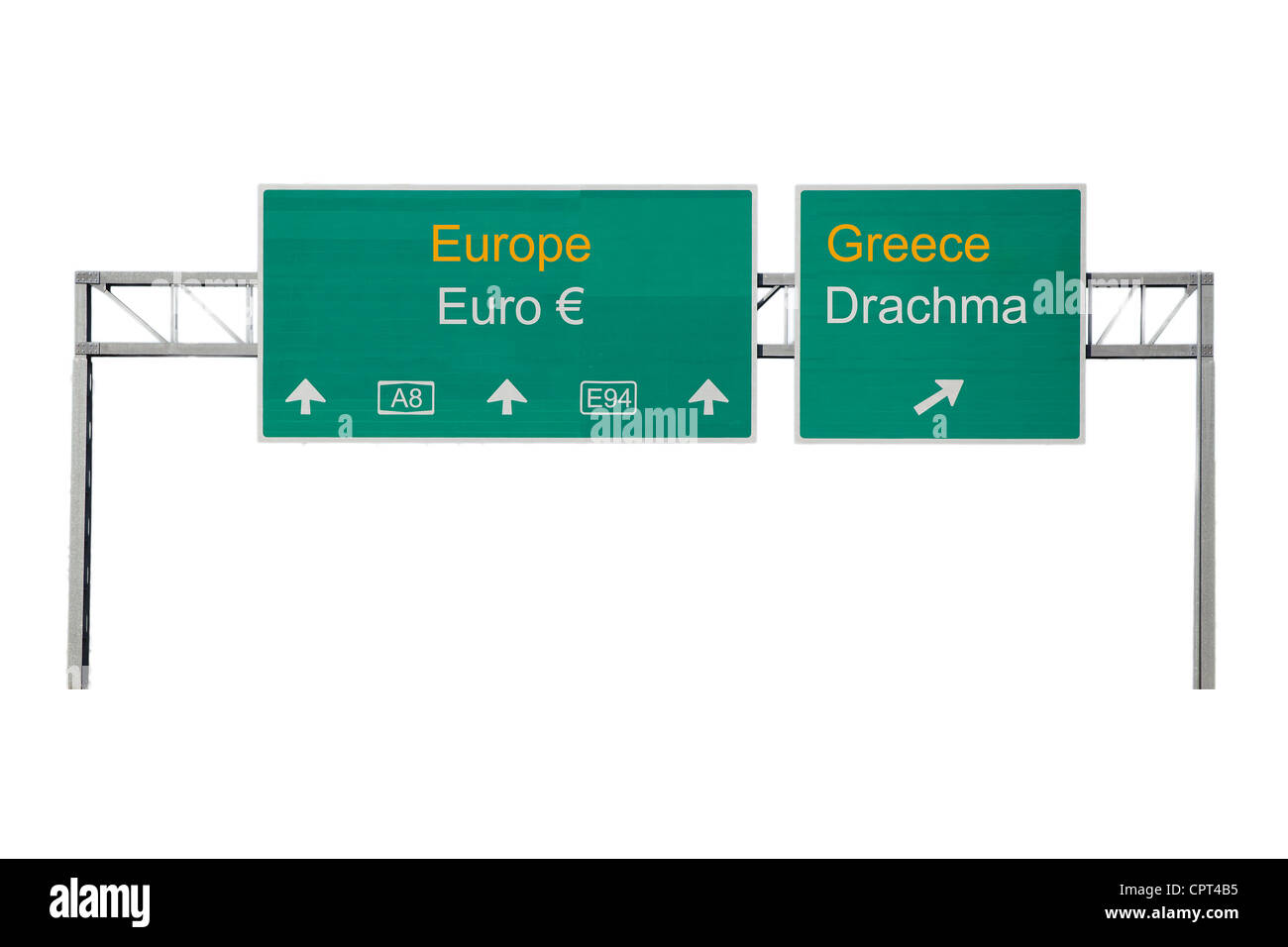 Europe-Greece and Euro-Drachma road sign - Stock Image