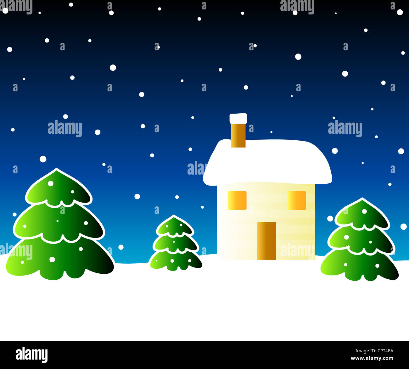 Winter scene with house and Christmas trees Stock Photo