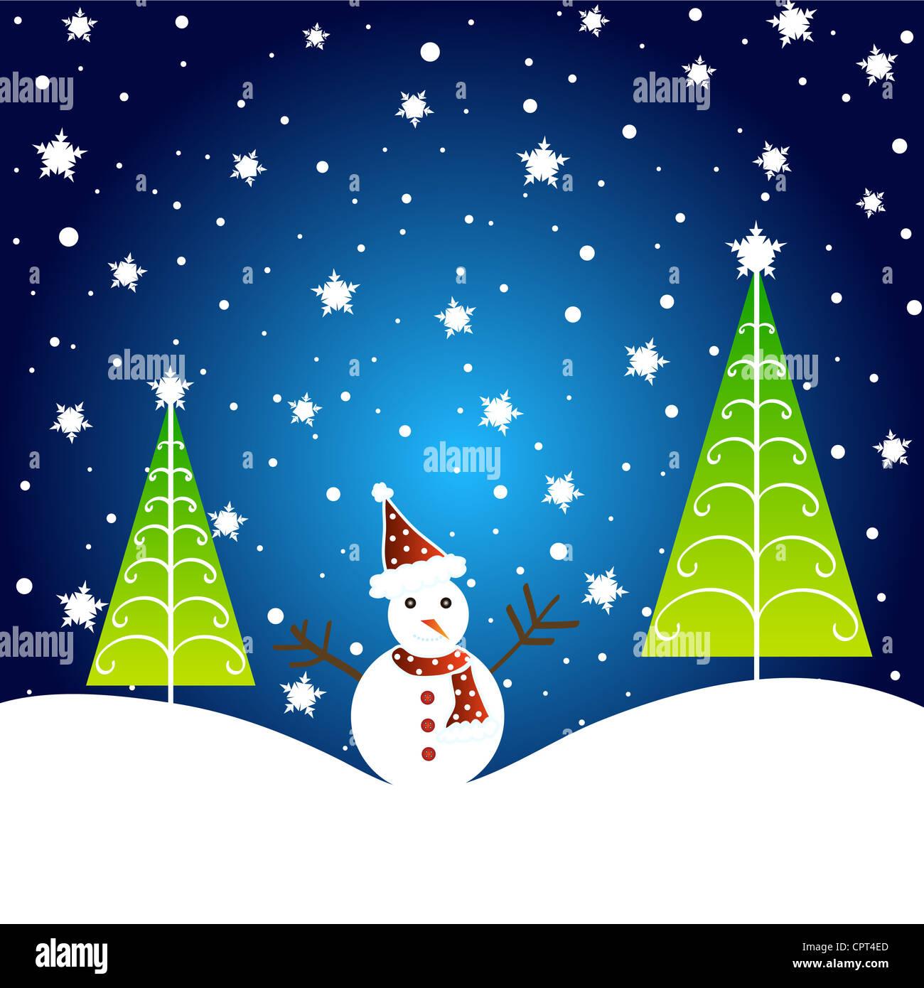Christmas tree and snowman design Stock Photo