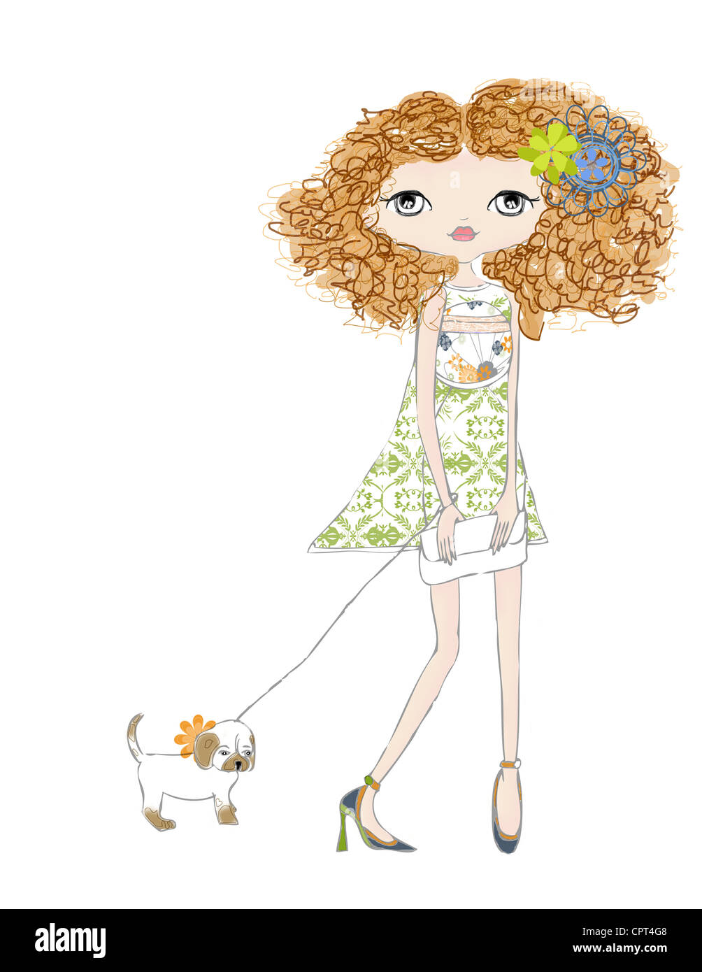 A girl with curly hair walking her puppy - Stock Image
