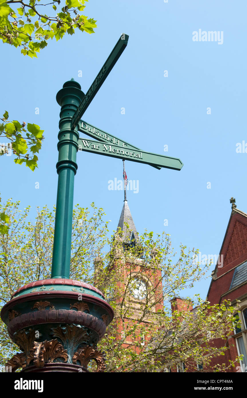 Signpost outside the Town Hall, King St. Dukinfield, Tameside, Manchester, UK. Stock Photo