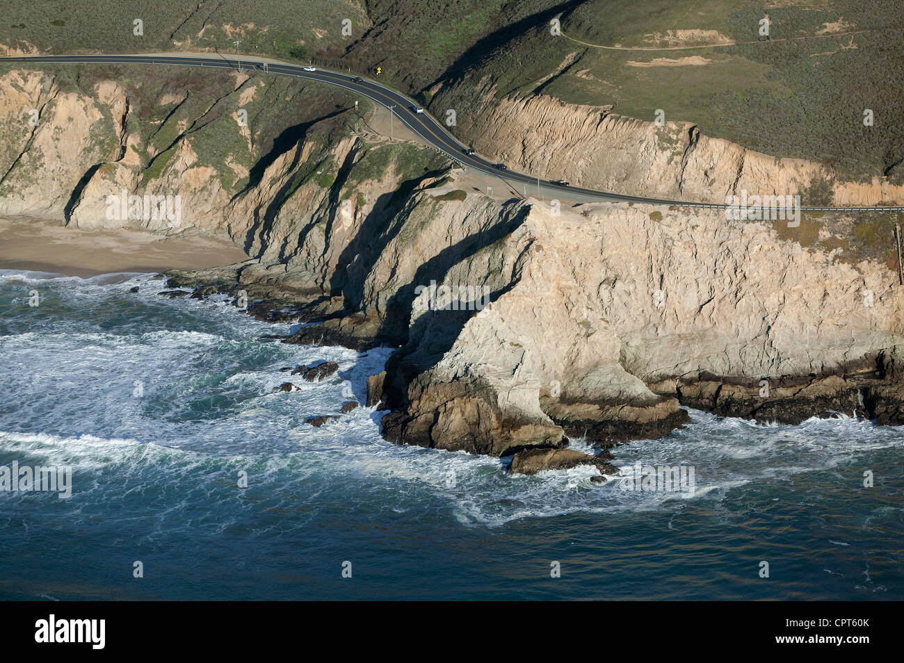 aerial photograph Highway One Pacific coast San Mateo County, California - Stock Image