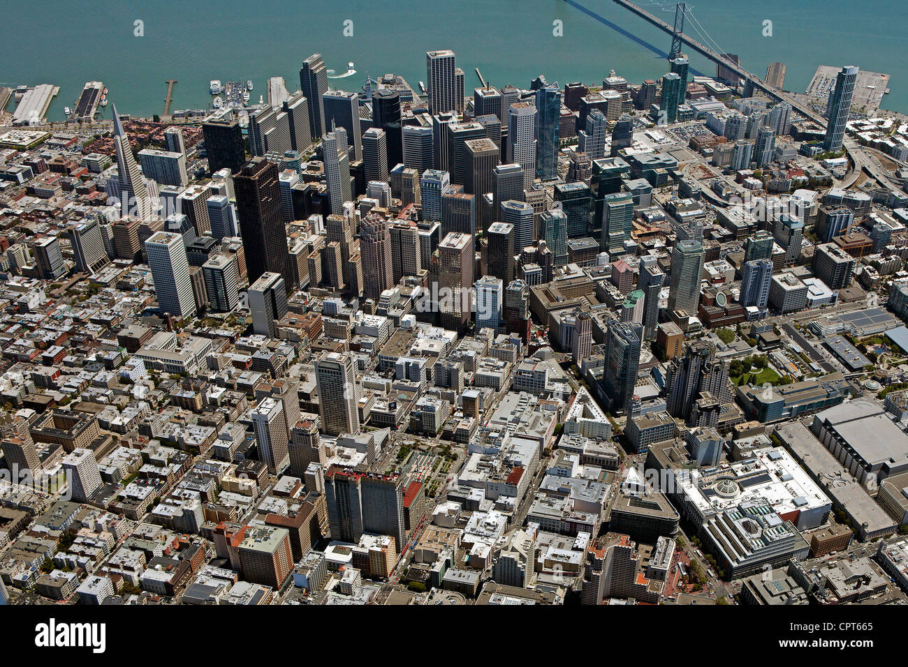aerial photograph Union Square San Francisco, California - Stock Image