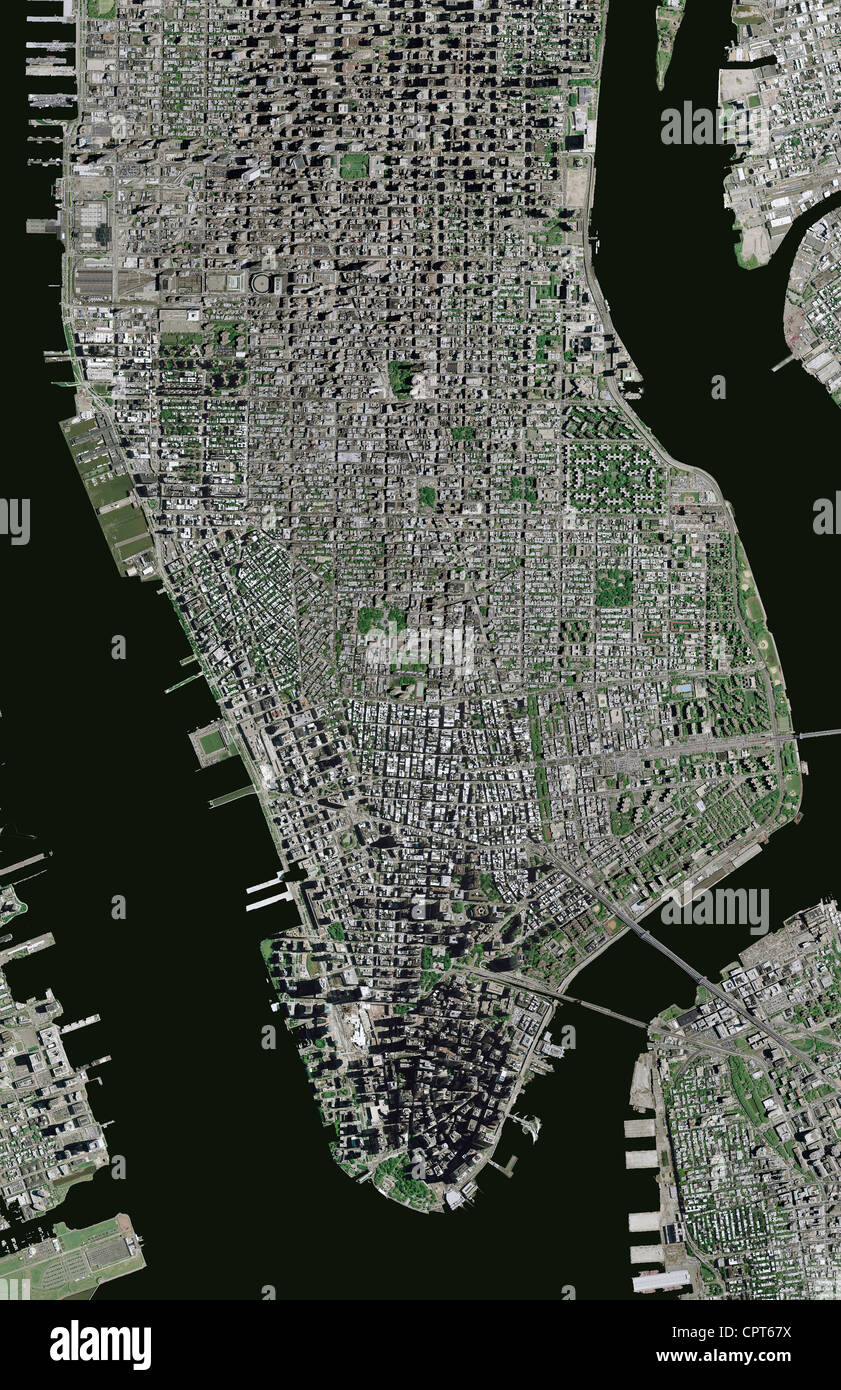 aerial photo map Manhattan, New York City Stock Photo: 48474942