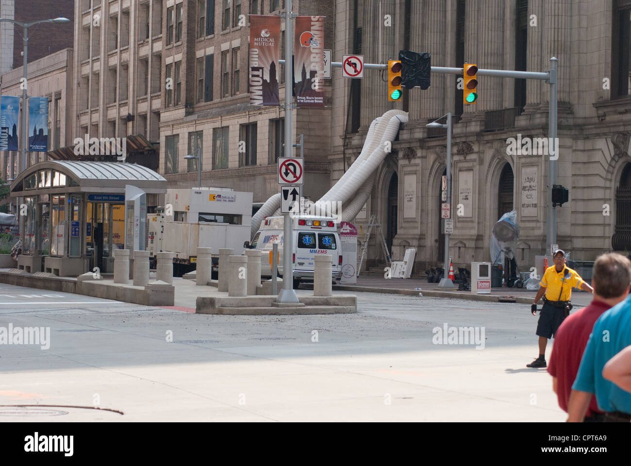 Friday, August 19, 2011, Movie set of Marvel's The Avengers (2012) movie being filmed in downtown Cleveland Ohio Stock Photo