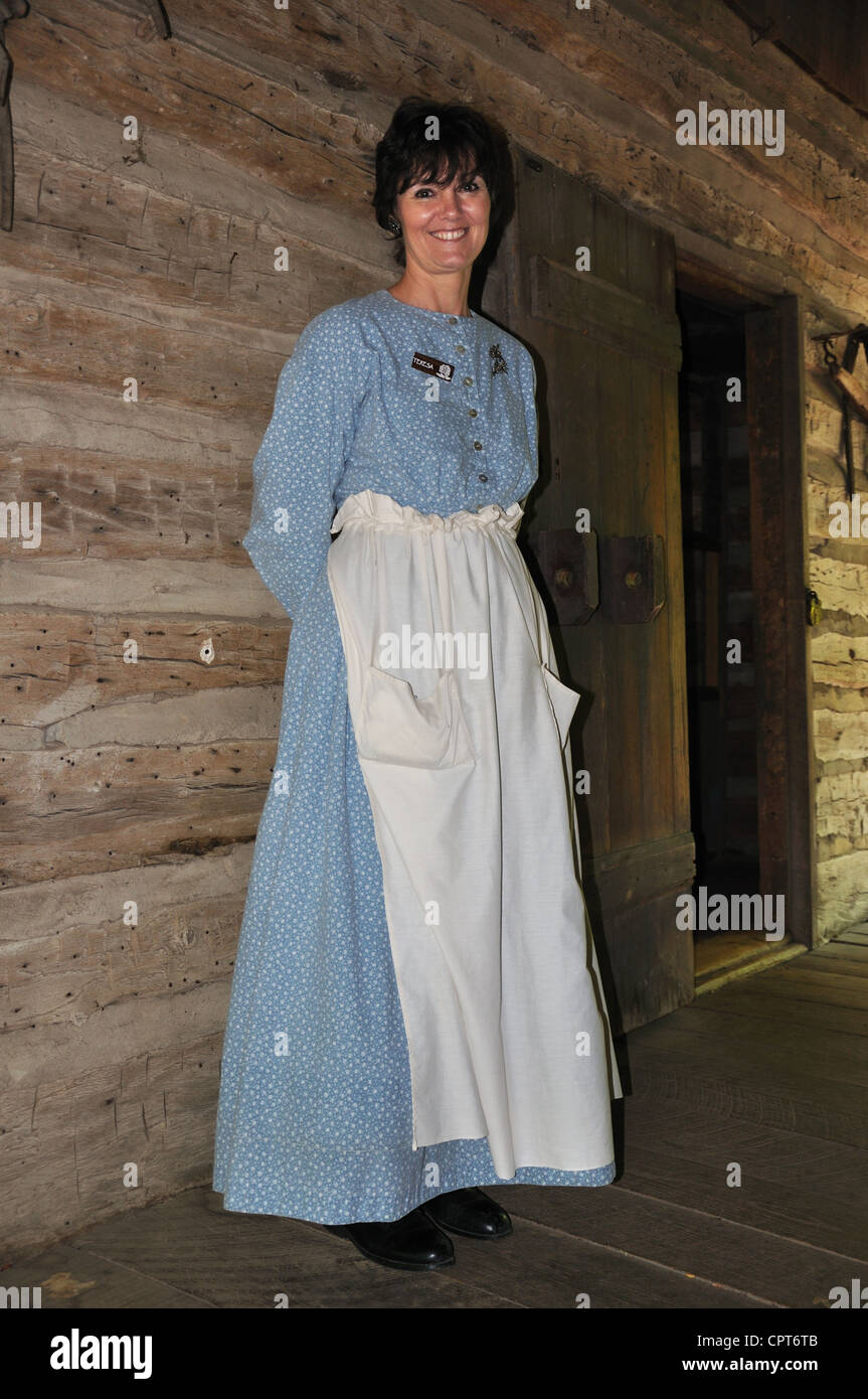 Log Cabin Village guide, Fort Worth, Texas, USA Stock Photo
