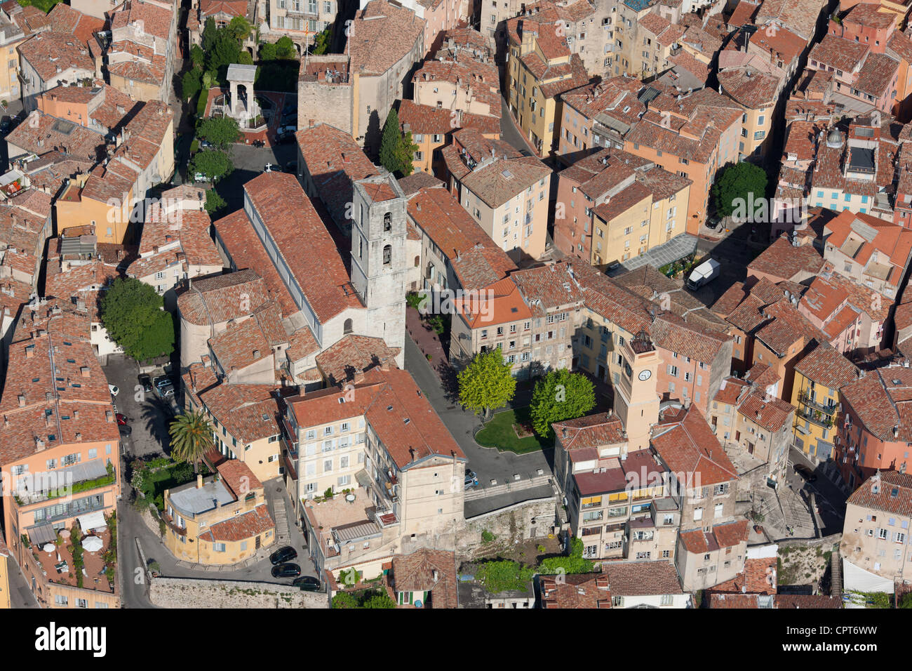 CATHEDRAL OF NOTRE-DAME DU PUY DE GRASSE (aerial view). City of Grasse, French Riviera's backcountry, France. - Stock Image
