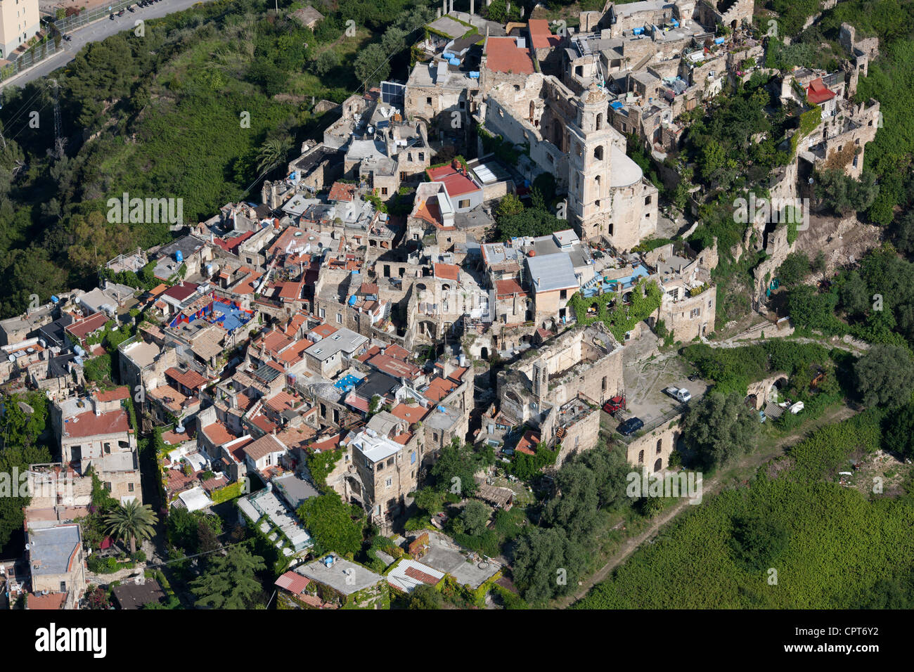 RESURRECTED PERCHED VILLAGE (aerial view). Bussana Vecchia (destroyed by an earthquake, resurrected by artists), Stock Photo