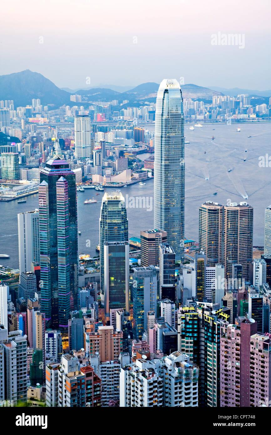 Beautiful Hong Kong Harbour from The Peak, - Stock Image