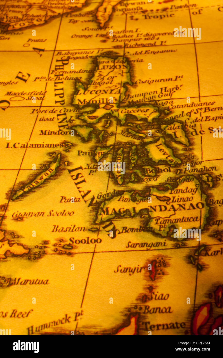 Old map of Philippines. Map is from 1799 and is out of copyright. - Stock Image