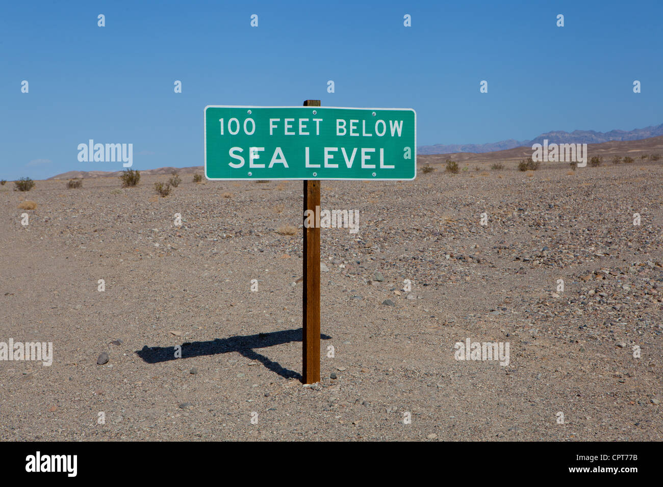 Altitude sign in Death Valley. - Stock Image