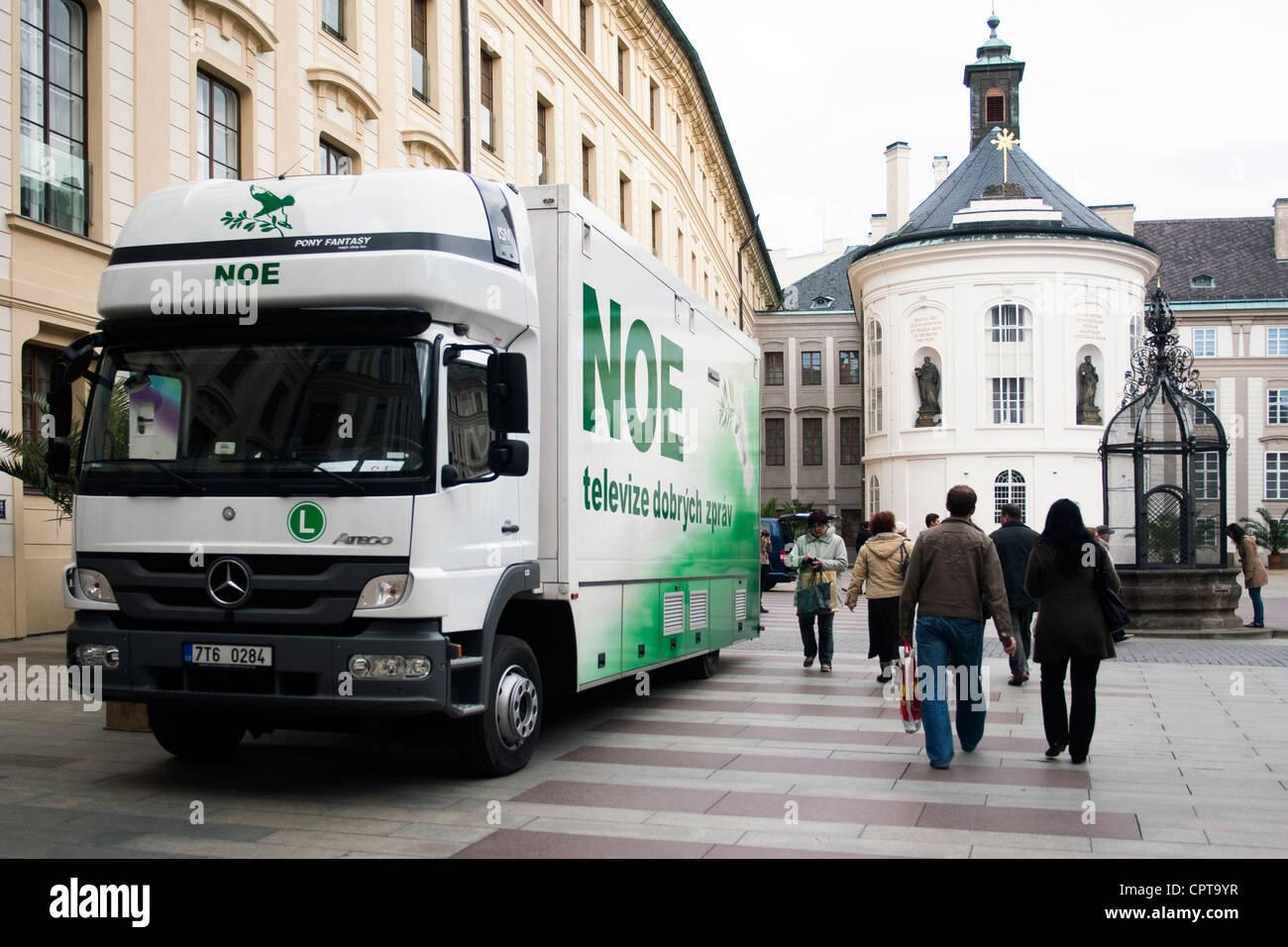 Transmission car Czech non-commercial Christian TV Noe at Prague Castle Prague Czech Republic April 22 2012 (CTK - Stock Image