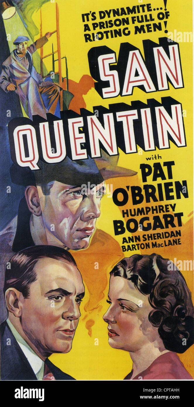 SAN QUENTIN Poster for 1937 Warner Bros film with Humphrey Bogart - Stock Image