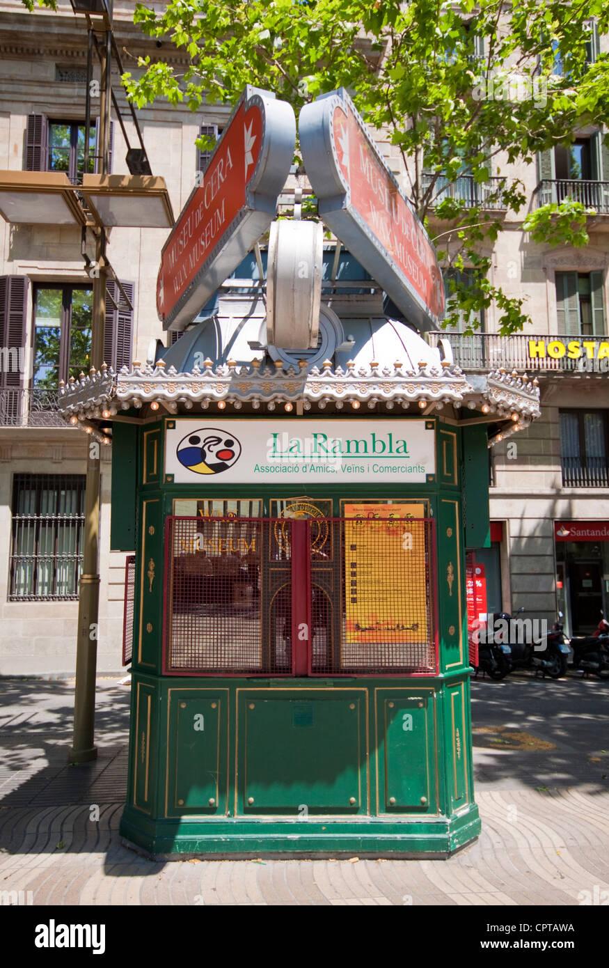 Kiosk in Las Ramblas Barcelona - Stock Image