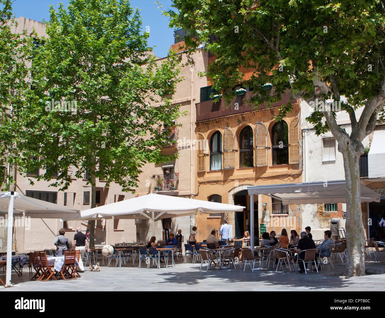 Pavements Bars Bistros in Tarragona Catalonia Spain - Stock Image