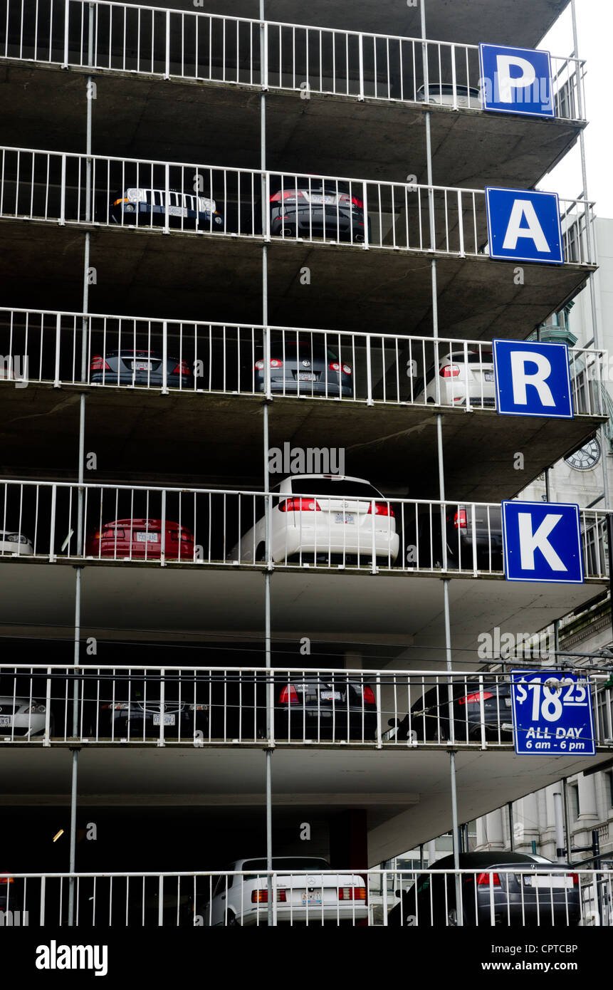 Parking garage or multi-storey car park, Downtown Vancouver, BC, Canada Stock Photo