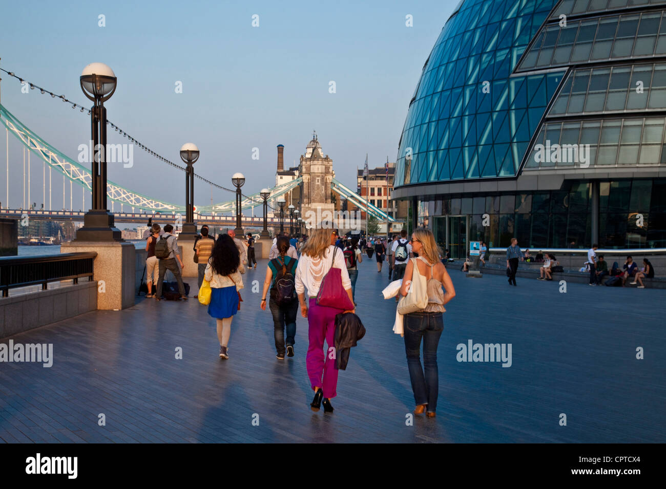 The London Assembly Building and Jubilee Walkway, London, England - Stock Image
