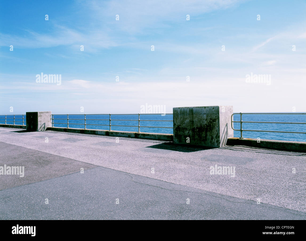 Sea and promenade, Seaford, East Sussex, England, UK - Stock Image