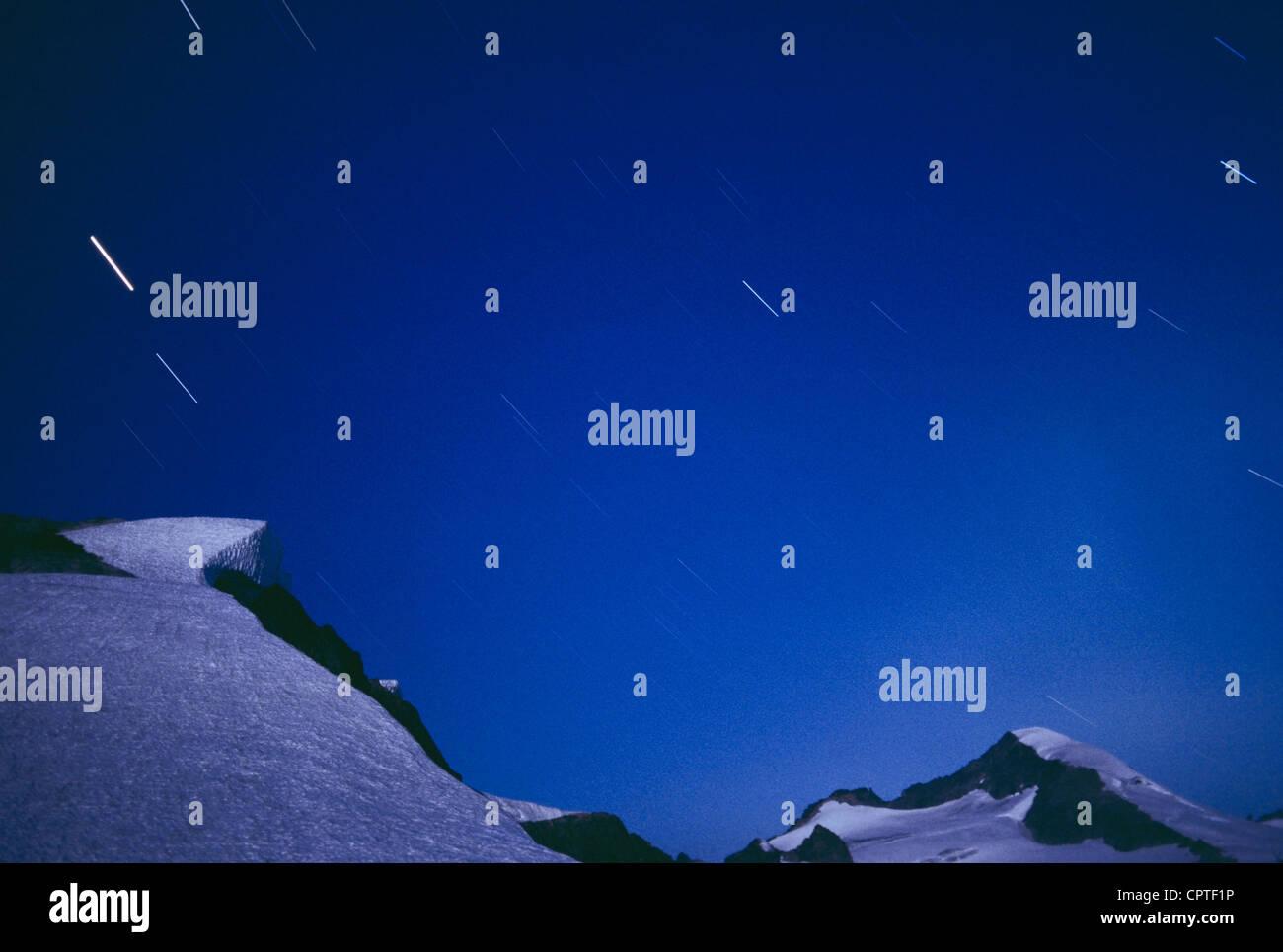 Eldorado Peak and night sky, North Cascades National Park, WA, USA - Stock Image